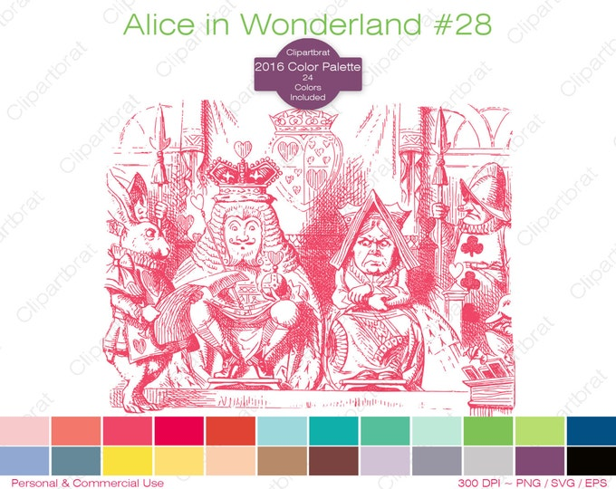 ALICE IN WONDERLAND Clipart Commercial Use Clipart King & Queen of Hearts Graphic 2016 24 Color Palette John Tenniel Vector Png Eps Svg
