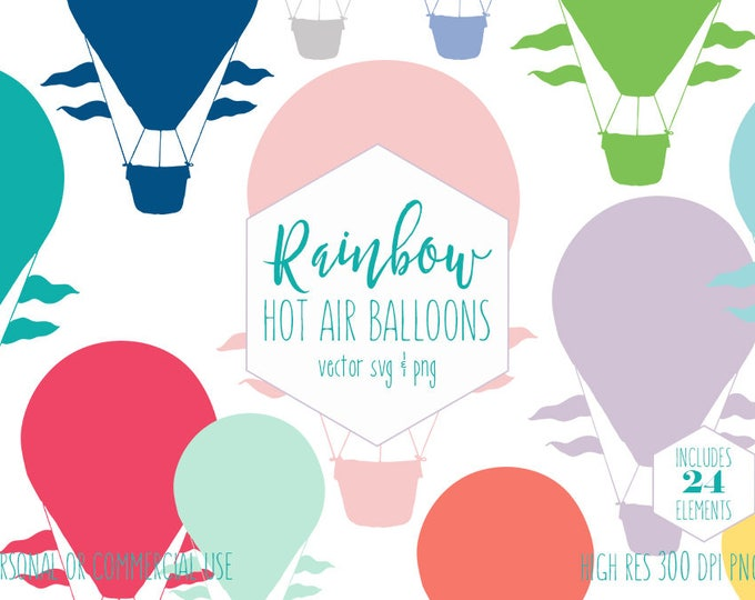 RAINBOW HOT AIR Balloons Clipart for Commercial Use Kids Clip Art Colorful Birthday Party Invitation Images Digital Vector Graphics Svg Png