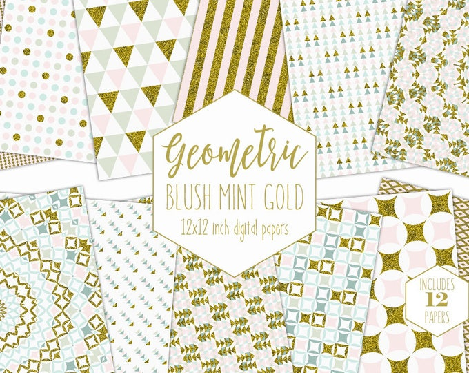 BLUSH PINK & GOLD Digital Paper Pack Mint Geometric Backgrounds Glitter Scrapbook Papers Triangle Patterns Party Printable Commercial Use