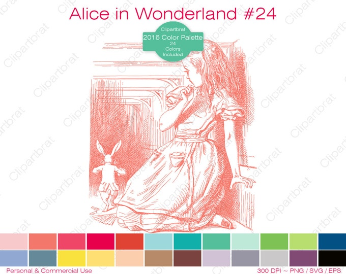 ALICE IN WONDERLAND Clipart Commercial Use Clipart The White Rabbit Graphic 2016 24 Color Palette John Tenniel Sticker Vector Png Eps Svg