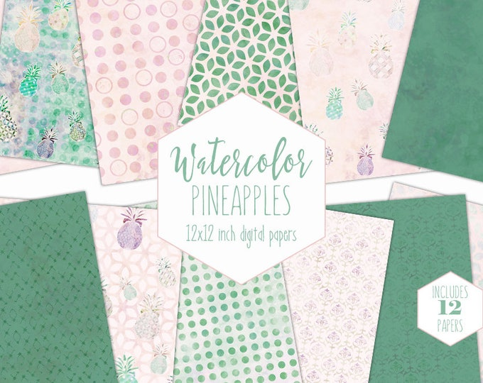 GREEN & PEACH PINEAPPLE Digital Paper Pack Commercial Use Tropical Backgrounds Beach Scrapbook Papers Island Watercolor Patterns Clipart