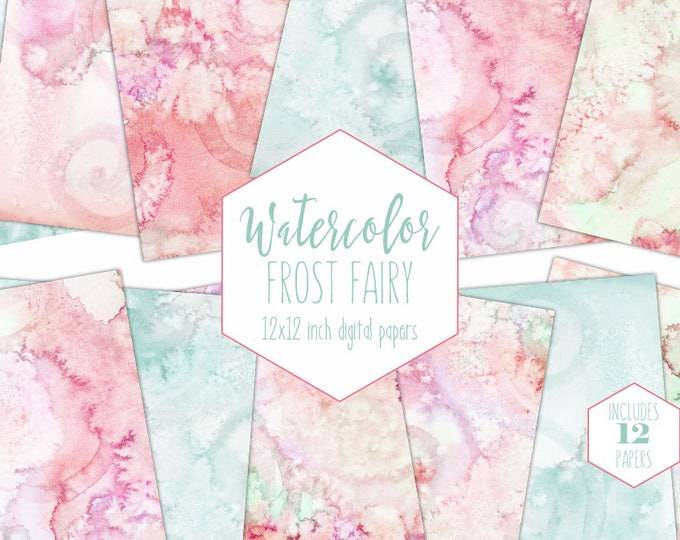 MINT & PEACH WATERCOLOR Digital Paper Pack Commercial Use Backgrounds Spring Green Scrapbook Papers Blush Pink Pastel Watercolour Textures