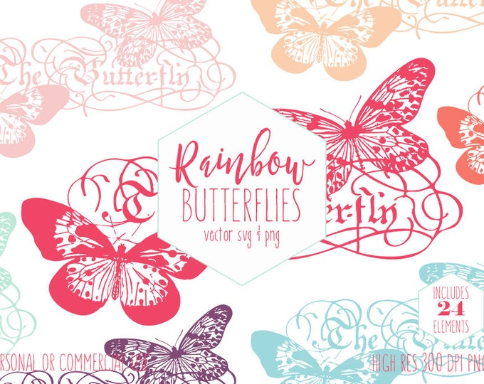 BUTTERFLY CLIPART for Commercial Use Clip Art Victorian Era Butterflies The Butterfly Wordart Rainbow Colors Vintage Vector Digital Graphics