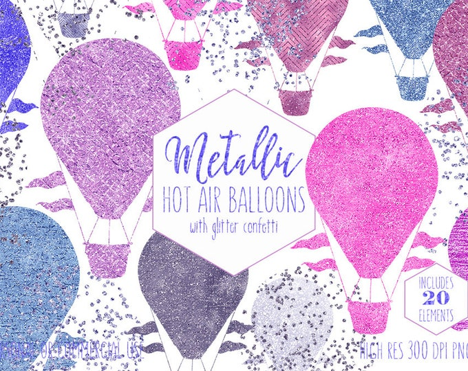 PINK & BLUE Hot Air Balloon Clipart for Commercial Use Clip Art Metallic Kids Balloon Foil Confetti Baby Shower Invitation Digital Graphics