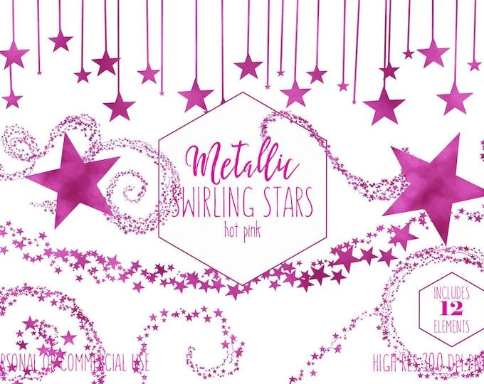 PINK METALLIC STARS Clipart Commercial Use Clip Art Swirling Hot Pink Foil Star Trails Swirl Celestial Sky Girl Baby Shower Digital Graphics