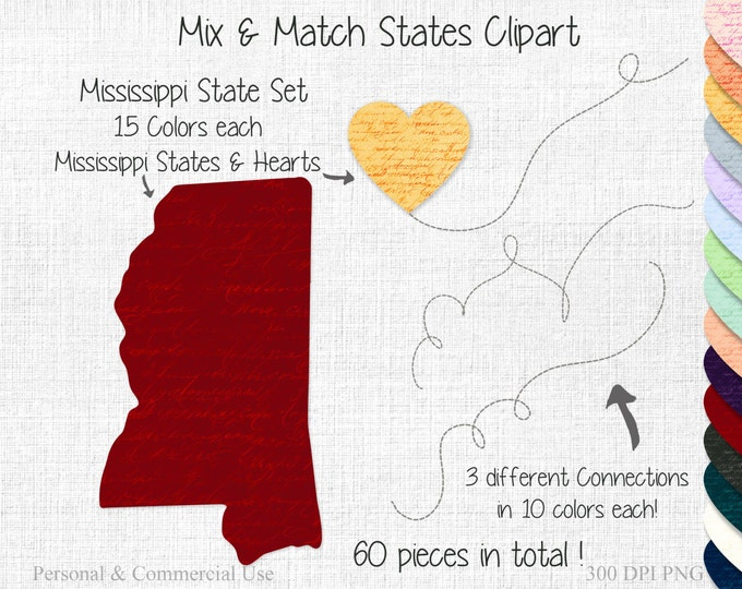 MISSISSIPPI STATE to STATE Clipart Commercial Use Clipart Mix & Match United State Shapes Wedding Clipart 2 State Connected Mississippi Home