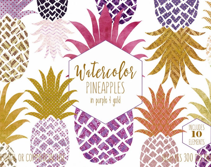 PURPLE & GOLD PINEAPPLE Clipart Commercial Use Clip Art Tropical Pineapples with Metallic Gold Glitter Pineapple Planner Sticker Graphics