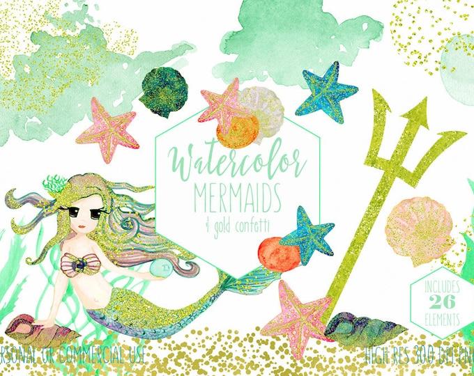 MINT WATERCOLOR MERMAID Clip Art Commercial Use Clipart 26 Elements Gold Confetti Ocean Watercolour Starfish Seashells Invitation Graphics