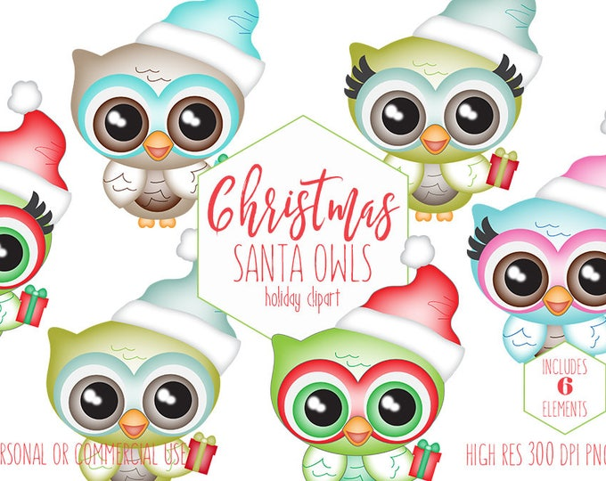 OWL CHRISTMAS CLIPART for Commercial Use Holiday Planner Sticker Clip Art Cute Owls with Santa Claus Hats & Gifts Kids Digital Graphics