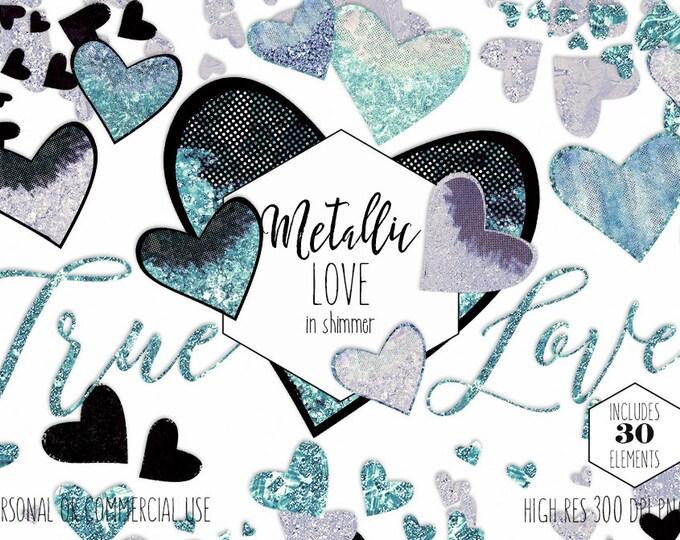 VALENTINE'S DAY HEARTS Clipart Commercial Use Clip Art Aqua Teal & Silver Metallic Love Borders Confetti Wedding Planner Sticker Graphics
