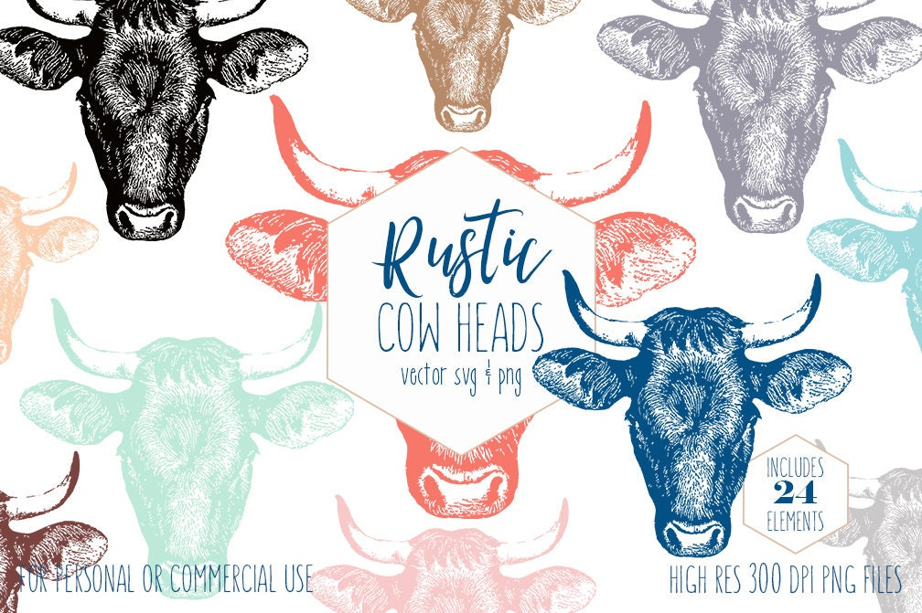 COUNTRY COW HEAD Clipart for Commercial Use Rustic
