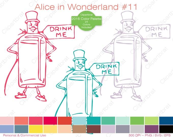 ALICE IN WONDERLAND Clipart Commercial Use Clipart Drink Me Graphic 2016 24 Color Palette Drink Me Bottle Digital Sticker Vector Png Eps Svg