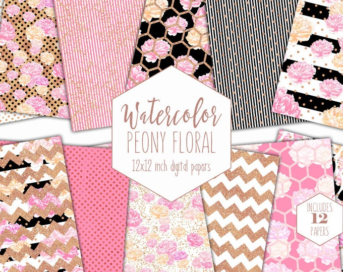 WATERCOLOR FLORAL Digital Paper Pack Black White Pink & Rose Gold Commercial Use Background Peony Stripe Cottage Chic Floral Scrapbook Paper