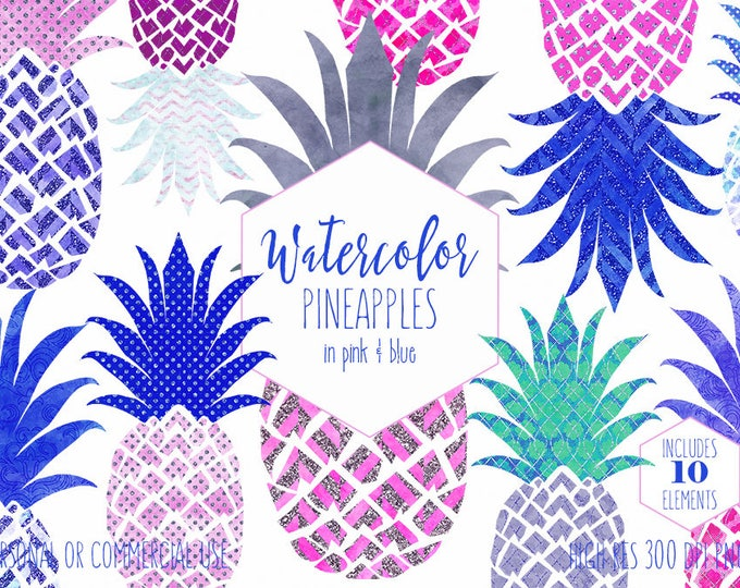 PINK & BLUE PINEAPPLE Clipart Commercial Use Clip Art Fun Tropical Pineapples with Metallic Glitter Pineapple Beach Planner Sticker Graphics