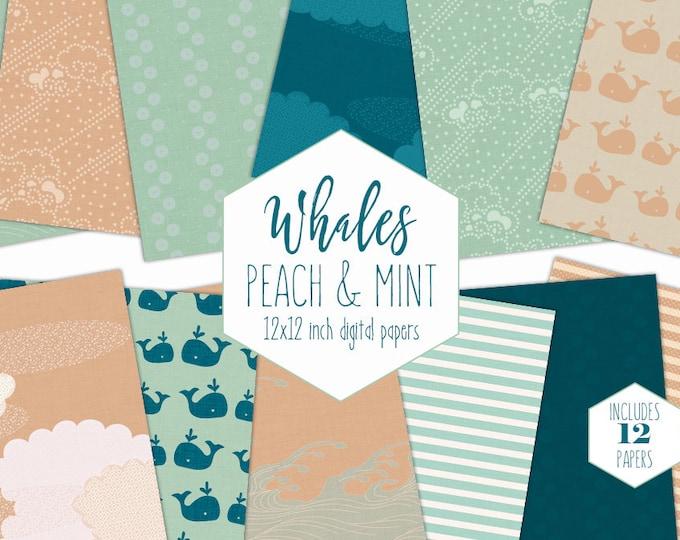 NAUTICAL WHALE Digital Paper Pack Peach Mint & Navy Blue Backgrounds Ocean Scrapbook Paper Kids Patterns Cloud Waves Party Printable Clipart