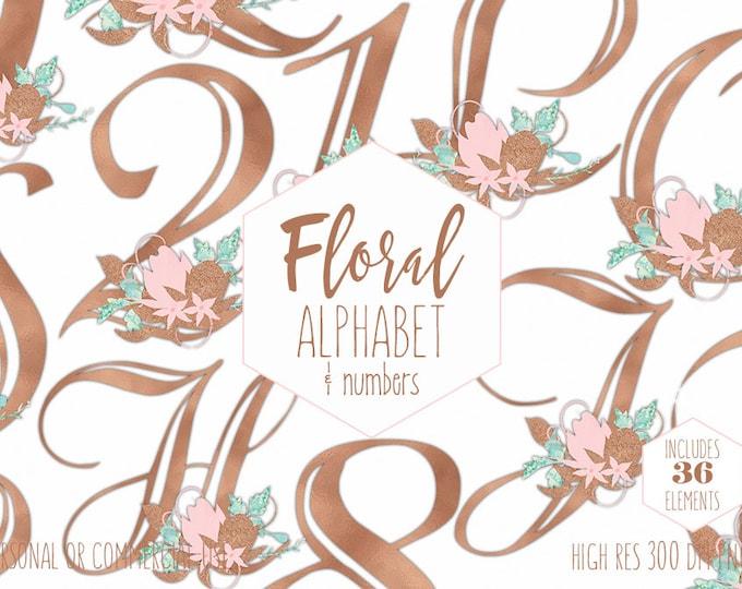 ROSE GOLD ALPHABET Clipart for Commercial Use Wedding Monogram Clip Art Blush Pink Floral Letters & Numbers Foil Flowers Digital Graphics