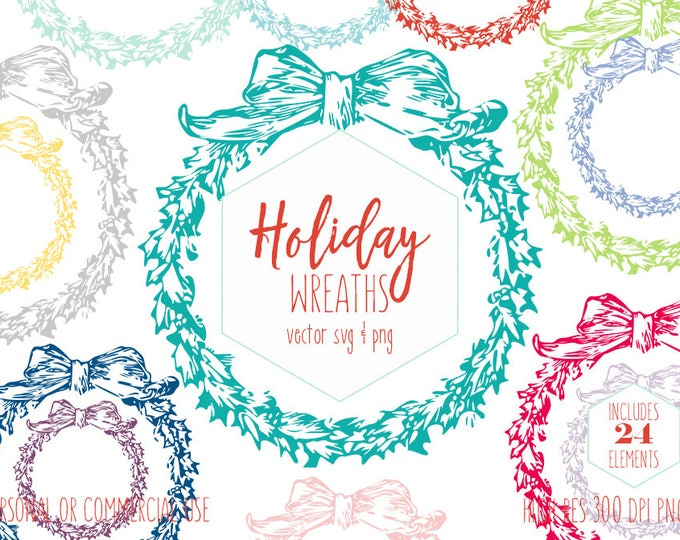 HOLIDAY WREATH Clipart with Leaves & Bow Christmas Clip Art for Invitations Winter Wreath Svg Vector Digital Graphics for Commercial Use