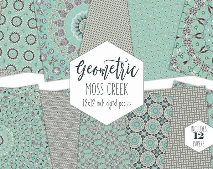 BOHO GRAY & MINT Digital Paper Pack Mandala Backgrounds Star Medallion Scrapbook Papers Geometric Patterns Modern Chic Bohemian Clipart