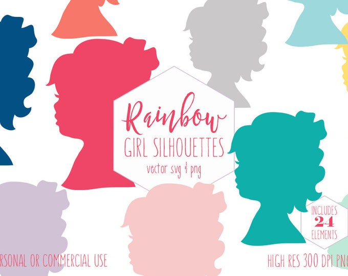 LITTLE GIRL FACE Clipart for Commercial Use Kids Clip Art Silhouette Planner Sticker Images Rainbow Colors Cute Digital Graphics Vector Svg