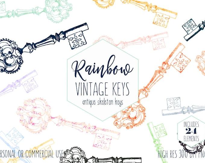 ANTIQUE KEY CLIPART for Commercial Use Clip Art Rainbow Color Vintage Skeleton Key Digital Graphics Key Shapes Romantic Victorian Era Keys