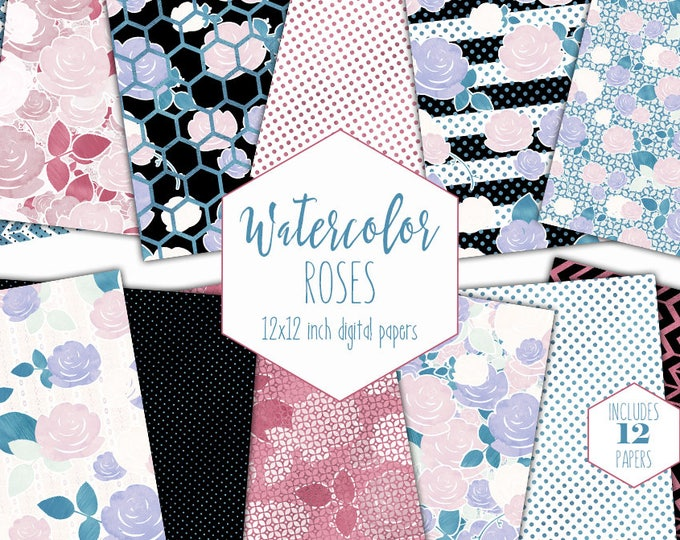 WATERCOLOR FLORAL Digital Paper Pack Commercial Use Backgrounds Pink & Blue Metallic Flowers Scrapbook Papers Rose Stripe Geometric Patterns