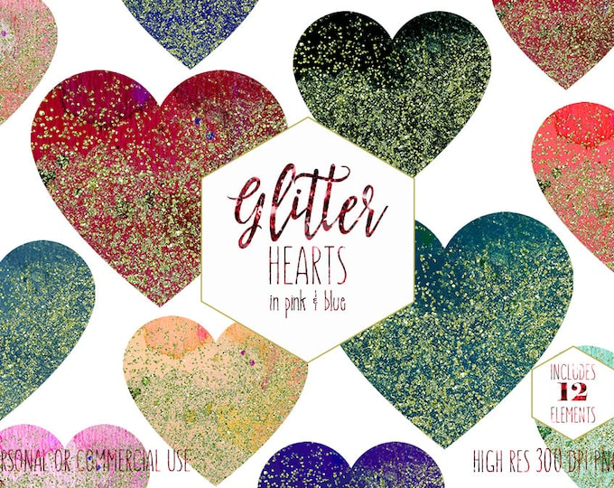 GOLD & RAINBOW HEARTS Clipart for Commercial Use Clip Art Watercolor and Metallic Glitter Confetti Red Heart Shapes Planner Digital Graphics