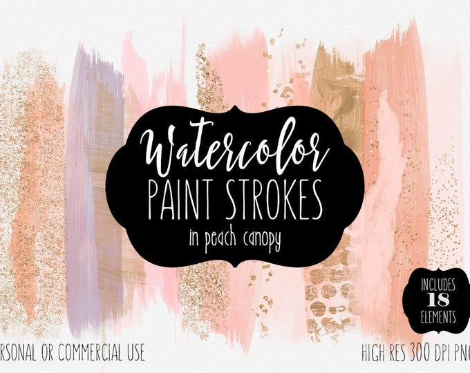 PEACH BRUSH STROKES Clip Art Commercial Use Clipart Watercolor Paint Stroke Blog Header Blush & Rose Gold Confetti Watercolour Logo Graphics