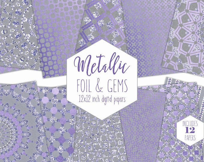 PURPLE & SILVER FOIL Digital Paper Pack Wedding Backgrounds Gray Metallic Scrapbook Paper Gem Pattern Party Printable Commercial Use Clipart