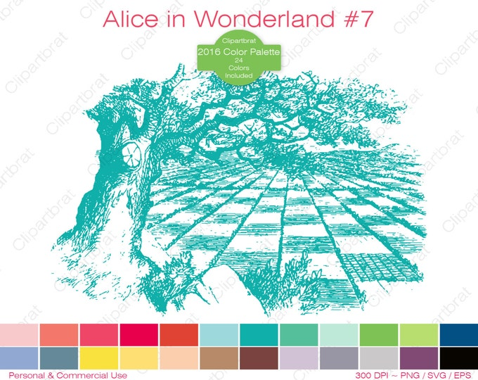 ALICE IN WONDERLAND Clipart Commercial Use Clipart Chess Board Graphic 2016 24 Color Palette John Tenniel Digital Sticker Vector Png Eps Svg