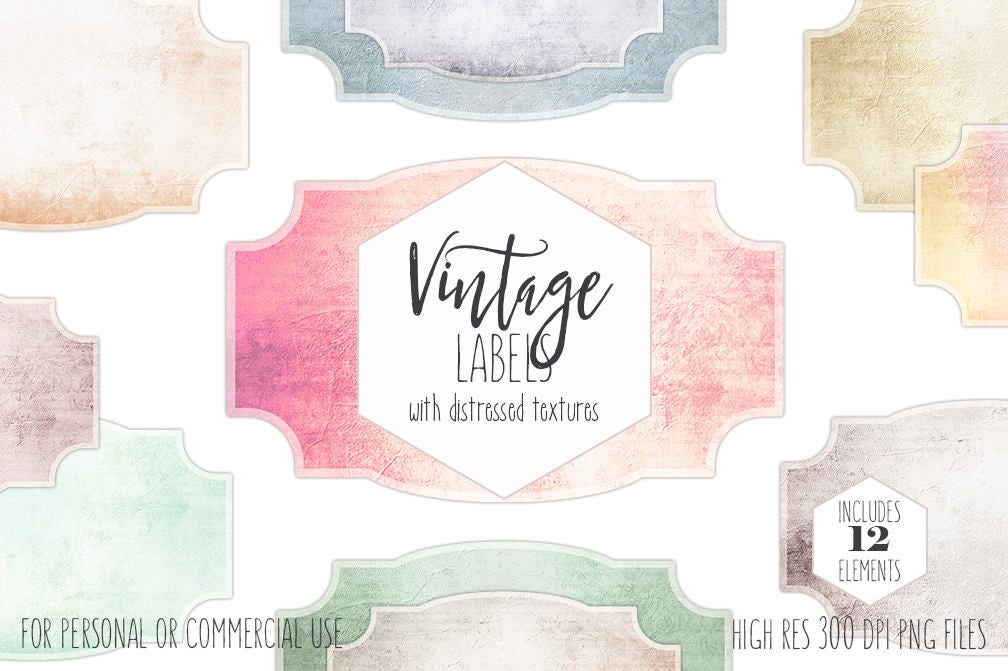 ANTIQUE LABELS CLIPART For Commercial Use Shabby Chic Frame Clip Art Vintage Blank Printable Apothecary Labels Textured Digital Graphics