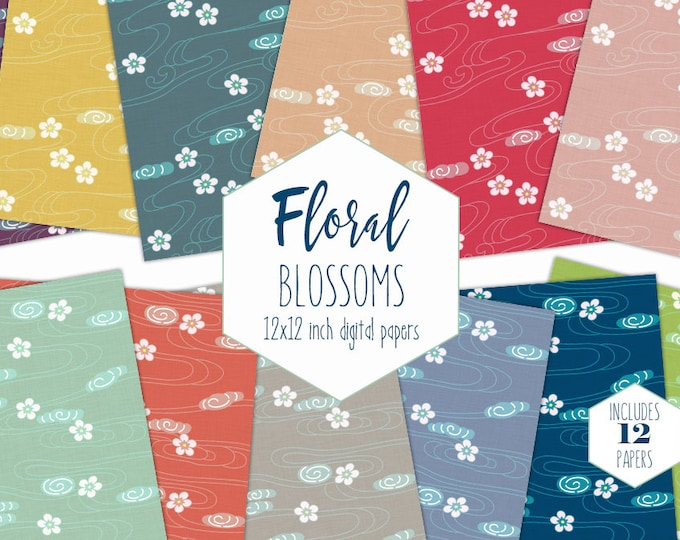 RAINBOW FLORAL Digital Paper Pack Flower Blossom Backgrounds Cute Colorful Scrapbook Papers Linen Texture Patterns Party Printable Clipart