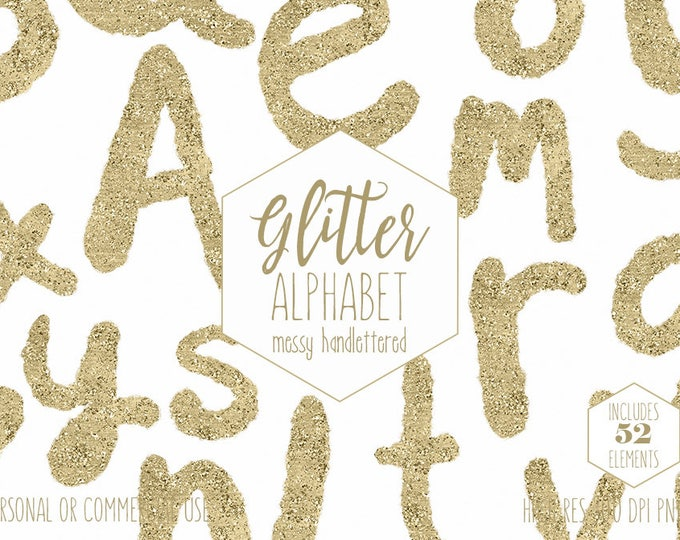 GOLD FOIL ALPHABET Clipart for Commercial Use Hand Lettered Clip Art Gold Metallic Letters Hand Drawn Glitter Uppercase & Lowercase Png