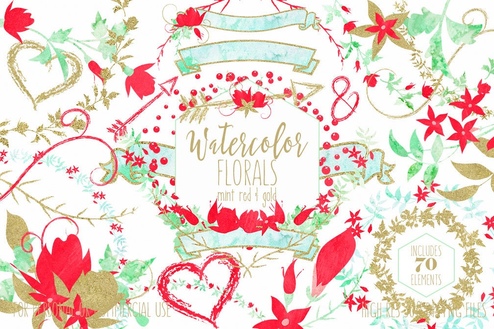 FLORAL WEDDING CLIPART Commercial Use Clip Art