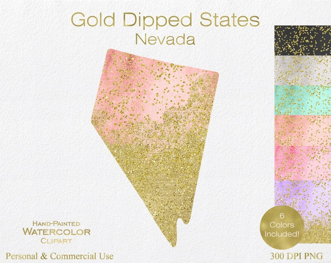 WATERCOLOR & GOLD NEVADA Clipart Commercial Use Clipart United States Shape Wedding Clipart Gold Confetti Dust Nevada Clip Art Graphics