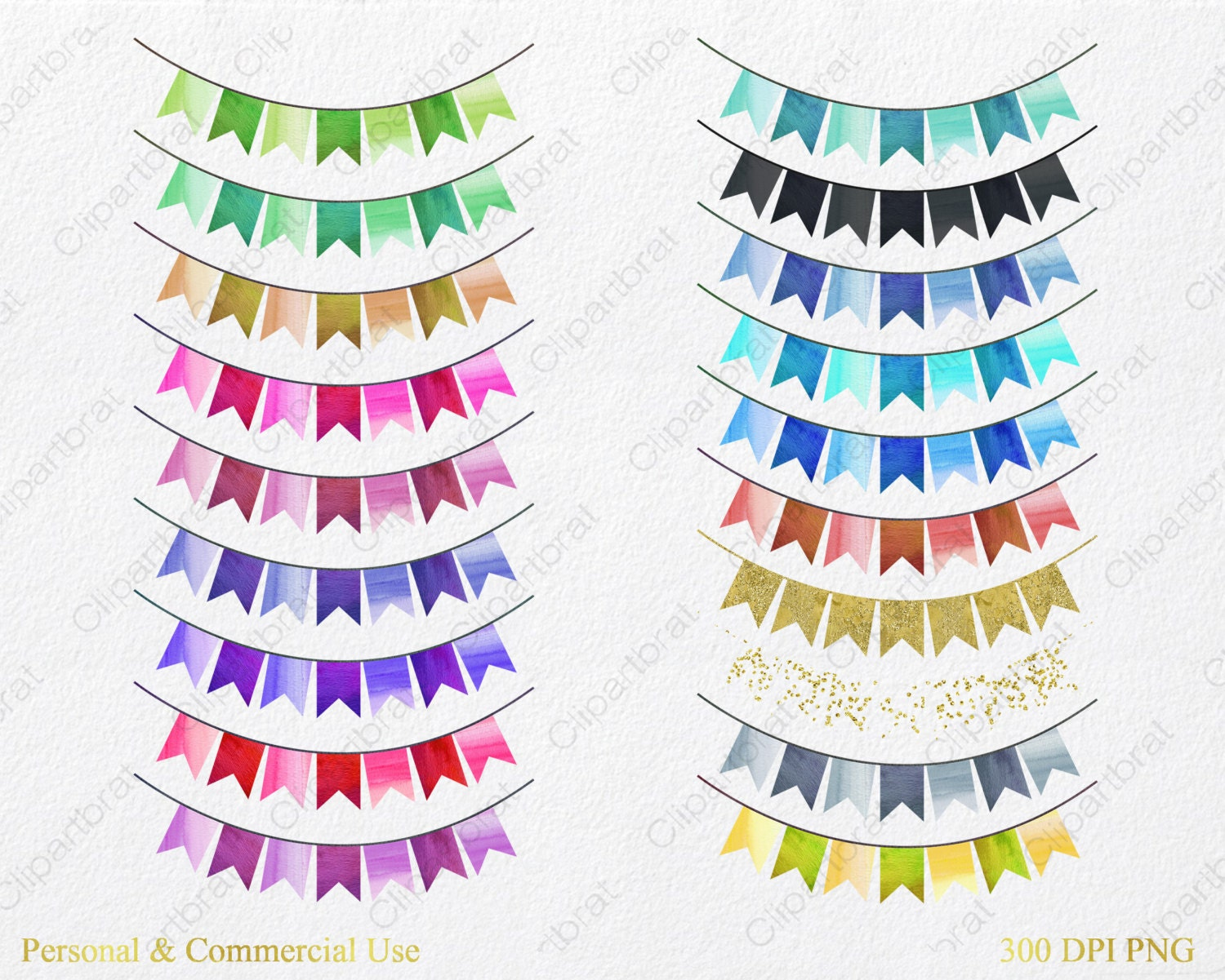 WATERCOLOR BUNTING BANNERS Clipart Commercial Use Clip Art ...