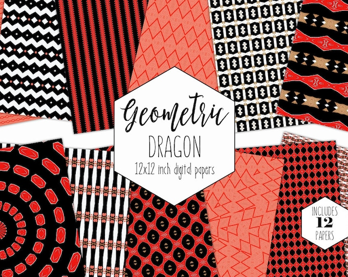 RED DRAGON Digital Paper Pack Black Asian Backgrounds Metallic Gold Scrapbook Papers Bold Coral Geometric Patterns Commercial Use Clipart