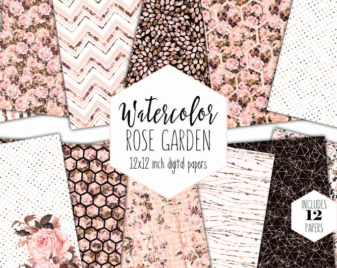 PEACH VINTAGE FLORAL Digital Paper Pack Commercial Use Blush Pink Rose Background Chic Scrapbook Paper Damask Chevron Flower Stripe Patterns