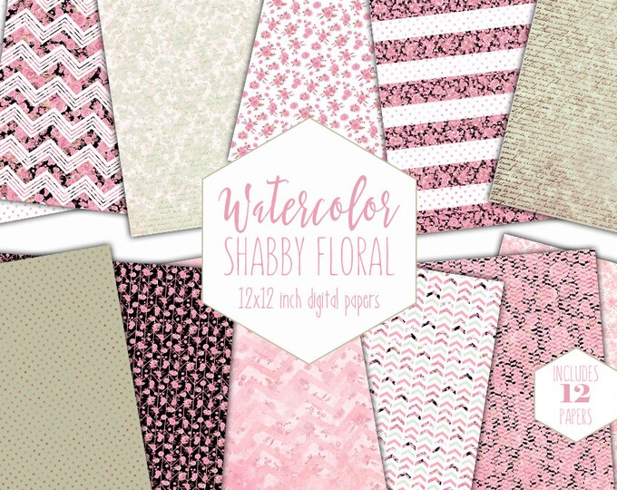 SAGE & PINK FLORAL Digital Paper Pack Commercial Use Blush Watercolor Backgrounds Shabby Chic Flower Scrapbook Paper Chevron Stripe Patterns
