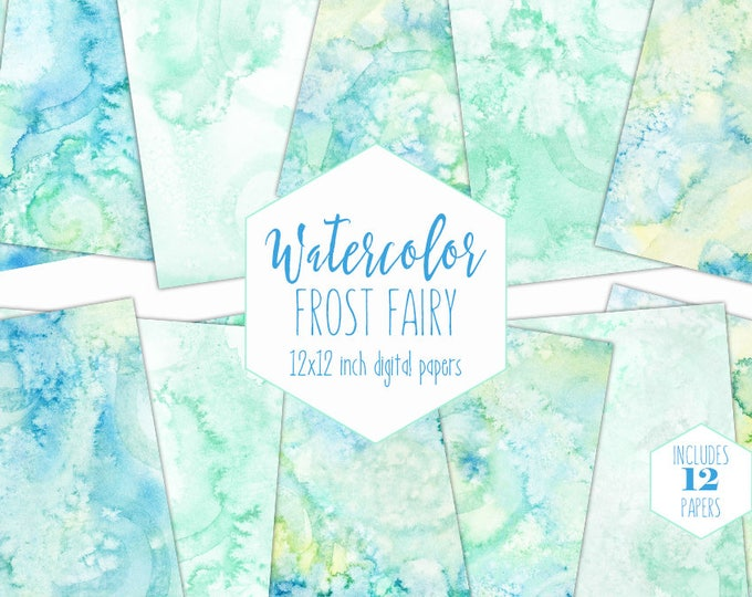 PASTEL MINT WATERCOLOR Digital Paper Pack Commercial Use Backgrounds Blue & Yellow Scrapbook Papers Real Watercolour Textures Baby Clipart