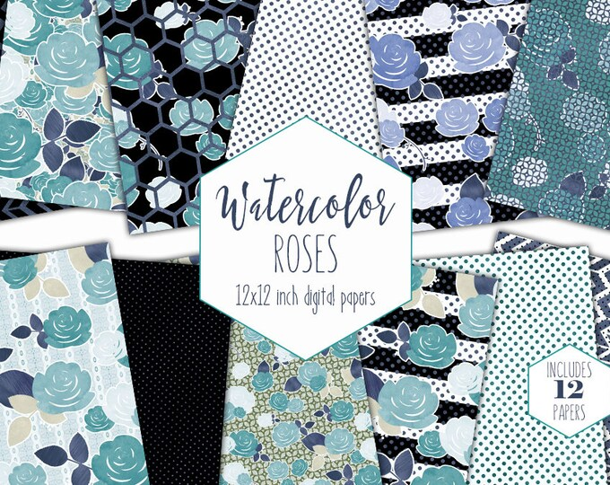 NAVY BLUE WATERCOLOR Floral Digital Paper Pack Commercial Use Backgrounds Teal Aqua Scrapbook Papers Roses Stripes Polka Dots Hexagons Paper