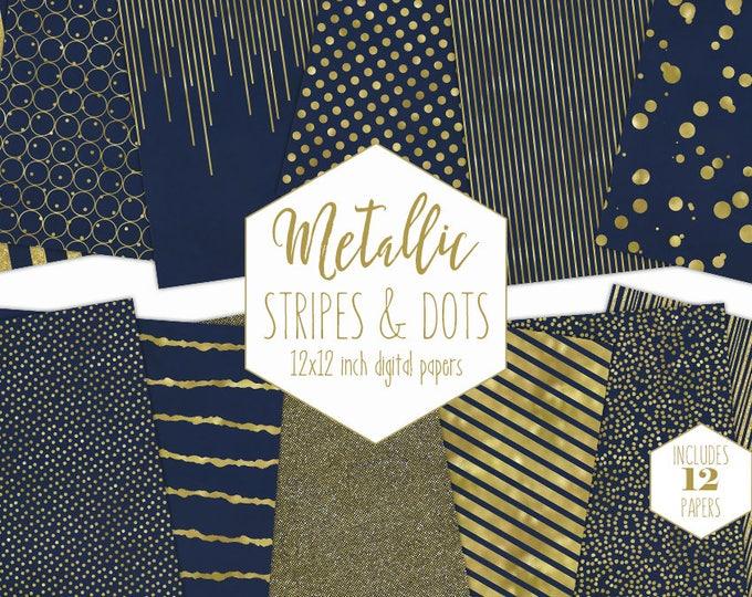 NAVY & GOLD FOIL Digital Paper Pack Stripe Backgrounds Metallic Confetti Scrapbook Paper Polka Dot Blue Wedding Patterns Party Printable