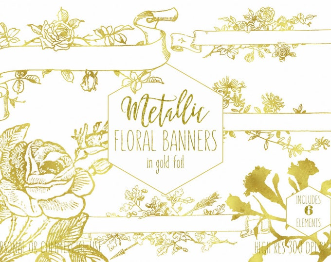 GOLD FOIL BANNER Clipart for Commercial Use Clip Art Gold Metallic Floral Rose Ribbon Banners Flower Wedding Invitation Digital Graphics