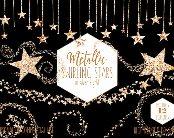 SILVER & GOLD STARS Clipart Commercial Use Planner Clip Art Metallic Glitter Star Shapes Borders Buntings Celestial Wedding Digital Graphics