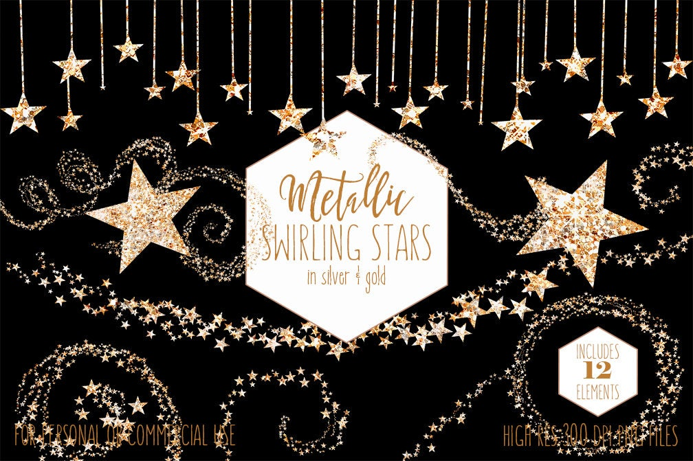 SILVER & GOLD STARS Clipart Commercial Use Planner Clip