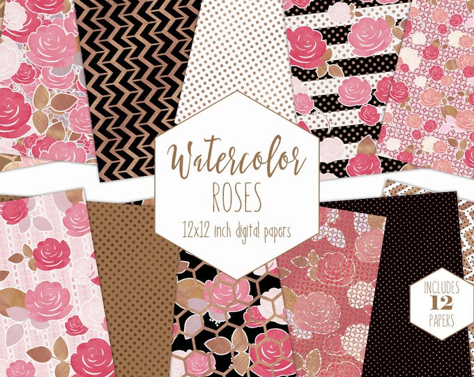 ROSE GOLD FLORAL Digital Paper Pack Commercial Use Pink Watercolor Flower Backgrounds Metallic Scrapbook Paper Striped Dot Hexagon Patterns