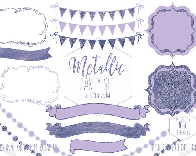 PURPLE PARTY CLIPART for Commercial Use Planner Clip Art Ultra Violet Bunting Banners Lights Birthday Baby Shower Wedding Digital Graphics