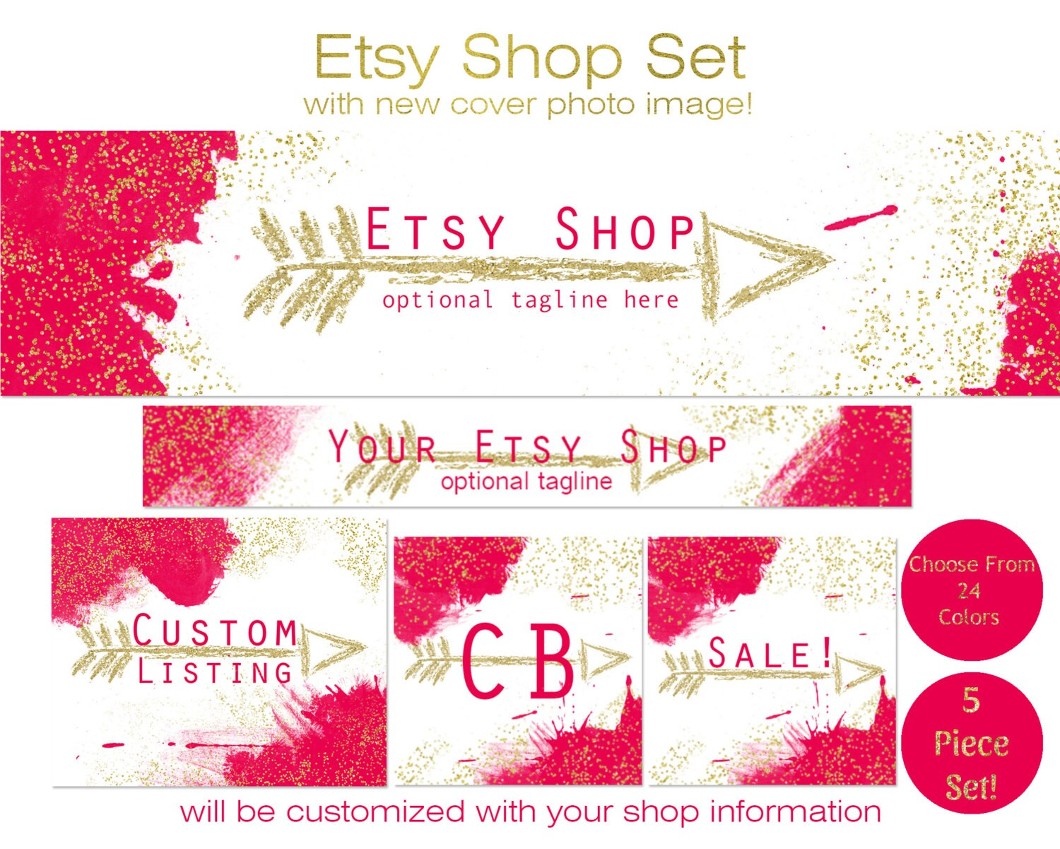 ETSY SHOP BRANDING Package - Choose Your Font and Colors