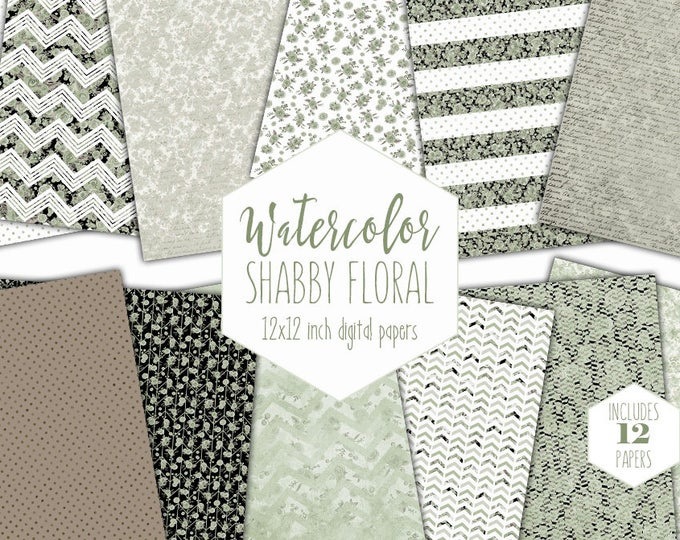 SHABBY CHIC FLORAL Digital Paper Pack Commercial Use Sage Green Watercolor Rose Backgrounds Polka Dot Scrapbook Paper Cute Chevron Patterns