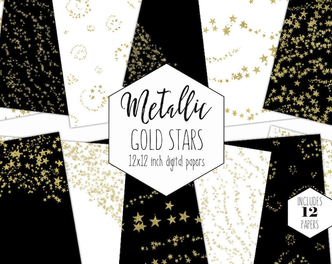 GOLD CONFETTI STARS Digital Paper Pack Metallic Glitter Backgrounds Gold Foil Star Scrapbook Papers Patterns Party Printable Commercial Use