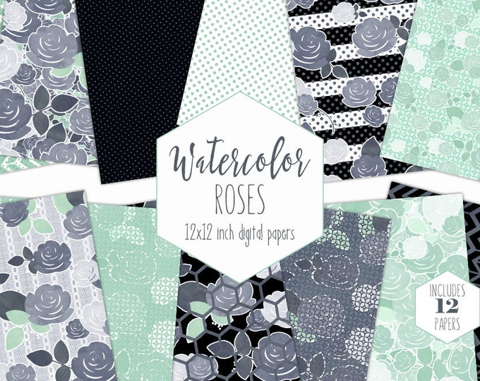 MINT WATERCOLOR FLORAL Digital Paper Pack Commercial Use Gray Rose Backgrounds Black & White Stripes Scrapbook Papers Modern Flower Patterns